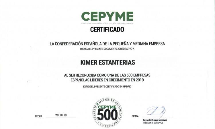Kimer, certificada como una de las 500 empresas líderes en crecimiento.